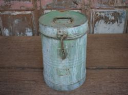 Old iron storage box with faded blue paint <b>SOLD<b>